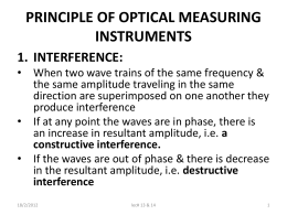PRINCIPLE OF OPTICAL MEASURING INSTRUMENTS