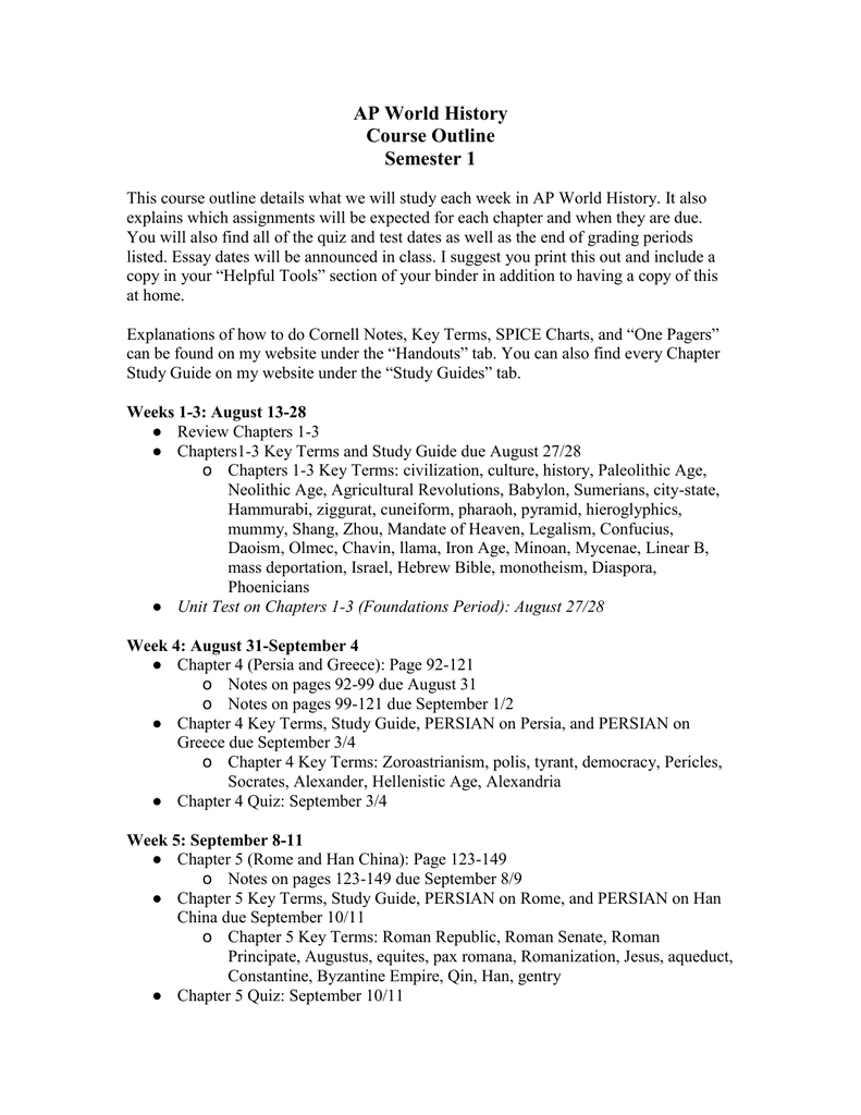 Course outline Semester 1 - Mrs  Arata's History Page