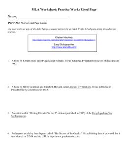 MLA Worksheet 1