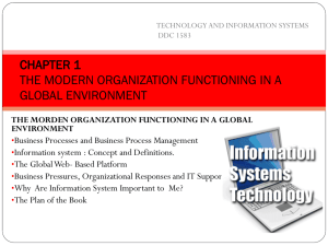chapter 1 the modern organization functioning in a global environment