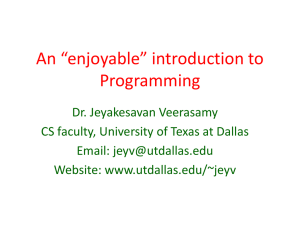 An introduction to Programming - The University of Texas at Dallas