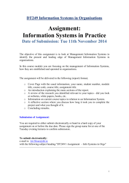 DT249 Information Systems in Organisations Assignment