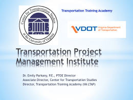 Transportation Project Management Institute