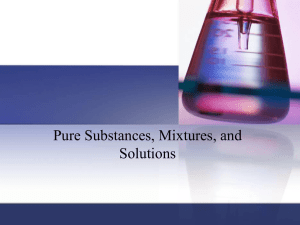 Pure Substances, Mixtures and Solutions Powerpoint