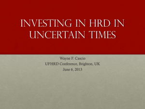 Investing In HRD in UIncertain Times