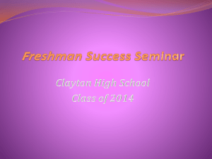 Freshman Success Seminar - School District of Clayton