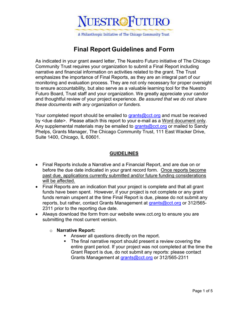 NF grant report template - Chicago Community Trust