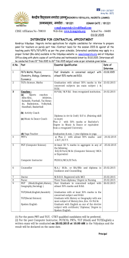 Advertisement for Contractual Teachers 2015-16