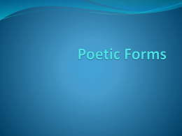 Poetic Forms - Mr. Parsons' Homework Page
