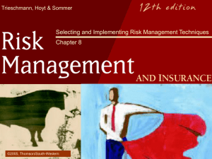 Selecting and implementing risk management techniques Chapter 8