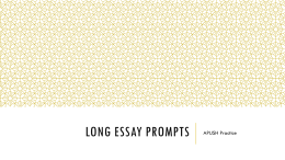 Long Essay Prompts
