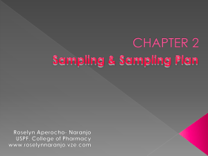 CHAPTER 2 Sampling and Sampling Plan