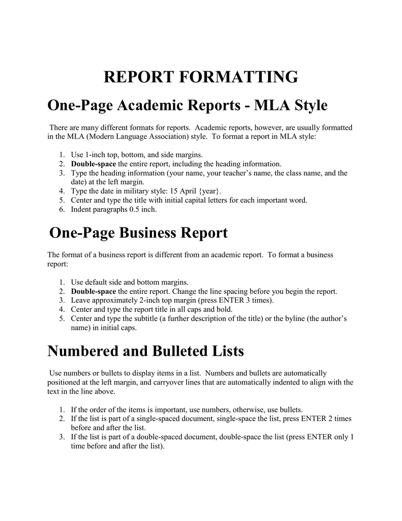 mla reports format