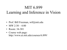 6.899 Learning and Inference in Vision