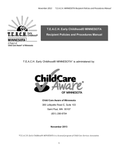 TEACH Early Childhood® MINNESOTA Recipient Policies and