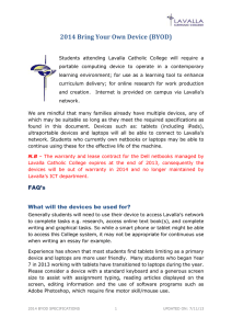 2014 BYOD Specifications - Lavalla Catholic College