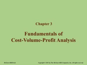 Chapter 3 – Fundamentals of Cost-Volume