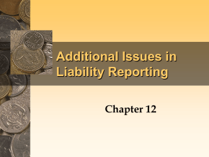 ADDITIONAL ISSUES IN LIABILITY REPORTING