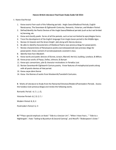 Honors British Literature Final Exam Study Guide Fall 2014