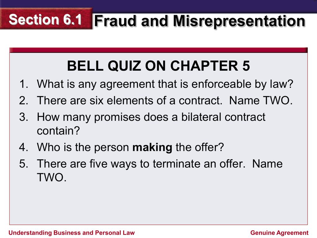 elements of misrepresentation in contract law