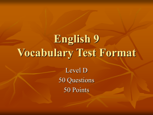 English 11 Vocab Test Format
