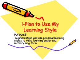 i-Plan to Utilize My Learning Style