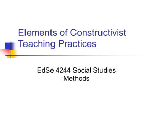 Elements of Constructivist Teaching Practices