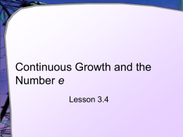 Continuous Growth and the Number e