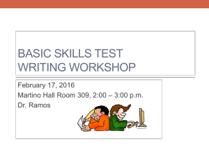 BASIC SKILLS TEST WRITING WORKSHOP