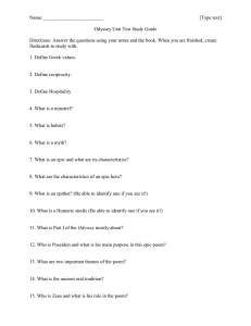 Name: [Type text] Odyssey Unit Test Study Guide Directions: Answer