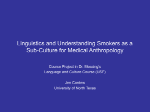 Linguistics and Understanding Smokers as a Sub