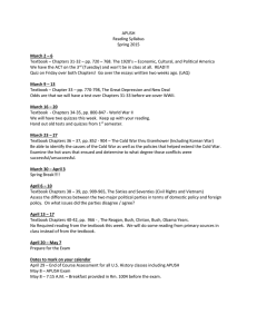APUSH Reading Syllabus Spring 2015 March 2 – 6 Textbook