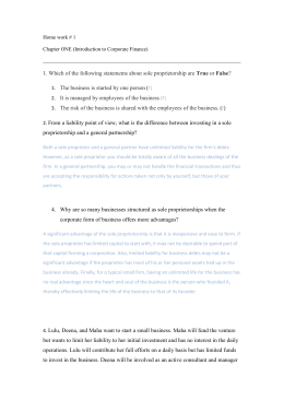 Home work # 1 Chapter ONE (Introduction to Corporate Finance) 1