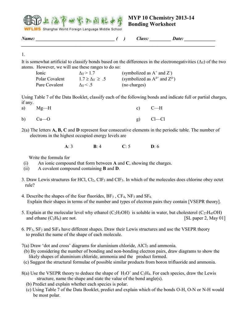Myp 10 chemistry 2013 14 bonding worksheet pooptronica