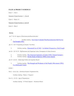 EXAM & PROJECT SCHEDULE Exam 1 – Feb 3 Research Project