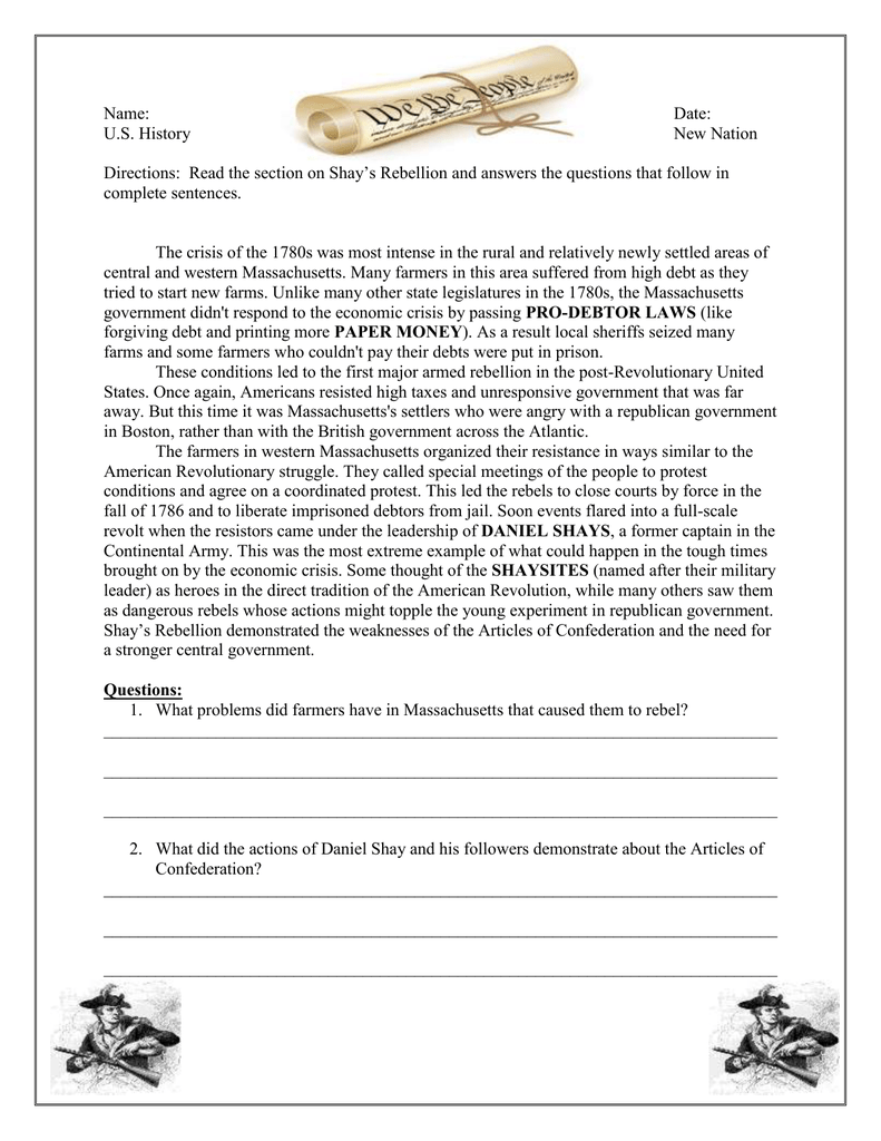 worksheet America The Story Of Us Rebels Worksheet Answers shays rebellion worksheet