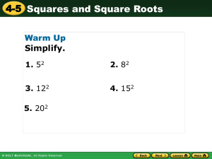 Power point for squares and square roots