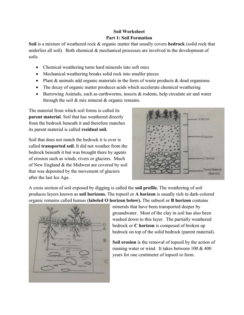 Weathering And Soil Formation Worksheet Answers Vary   My ...