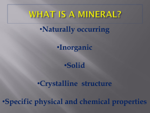 WHAT IS A MINERAL?