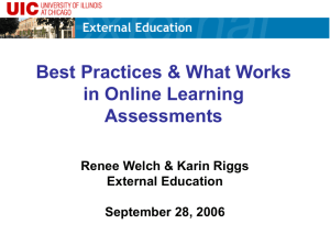 Best Practices and What Works in Online Learning Assessments