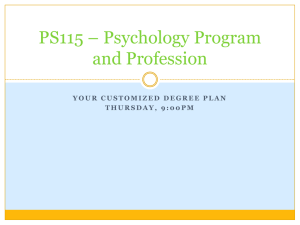 PS115 – Psychology Program and Profession