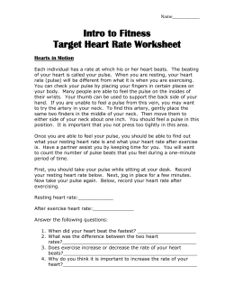 5: Heart Rate Activity Worksheet