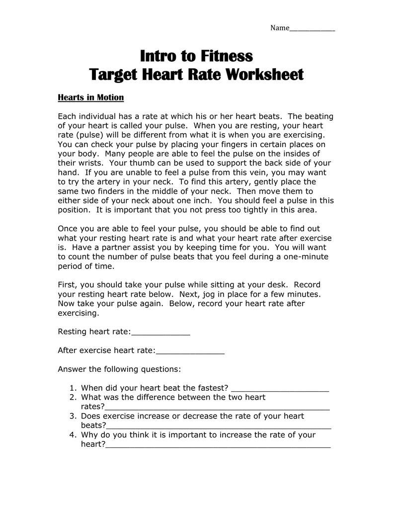 target heart rate worksheet worksheets releaseboard free printable worksheets and activities. Black Bedroom Furniture Sets. Home Design Ideas