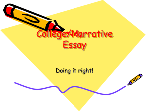 College/Narrative Essay