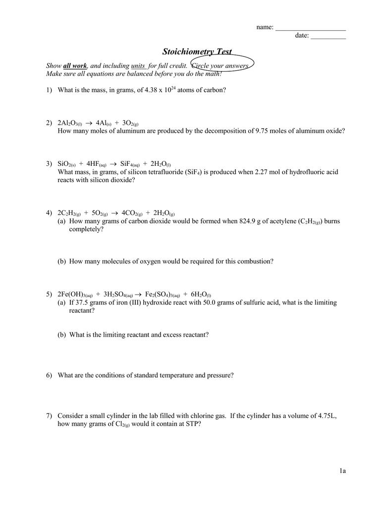 Stoichiometry worksheet 2 percent yield