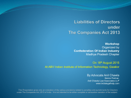 Presentation on Liabilities of Directors under Companies