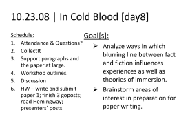 in cold blood close reading and analysis questions Fact checking in cold blood i found the papers of the fact checker who worked on capote's nonfiction friends would read to him and he would try to transcribe what he had heard, eventually the mistakes in in cold blood are especially striking because the material originally appeared in the.