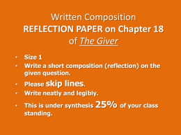Written Composition REFLECTION PAPER on Chapter 18 of The Giver