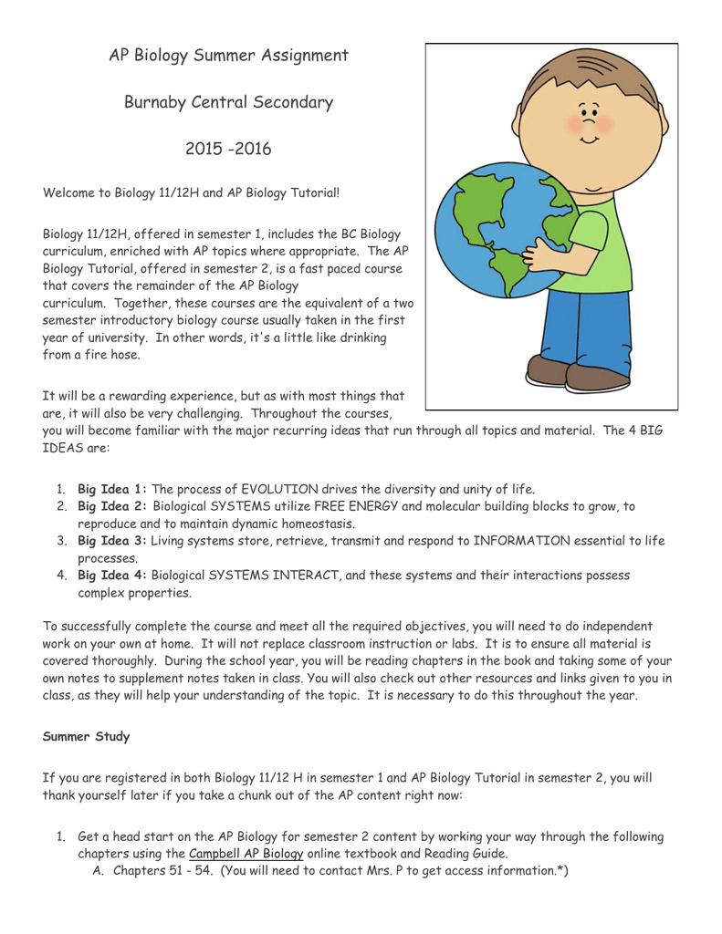 AP Biology Summer Assignment - Burnaby School District Blogs
