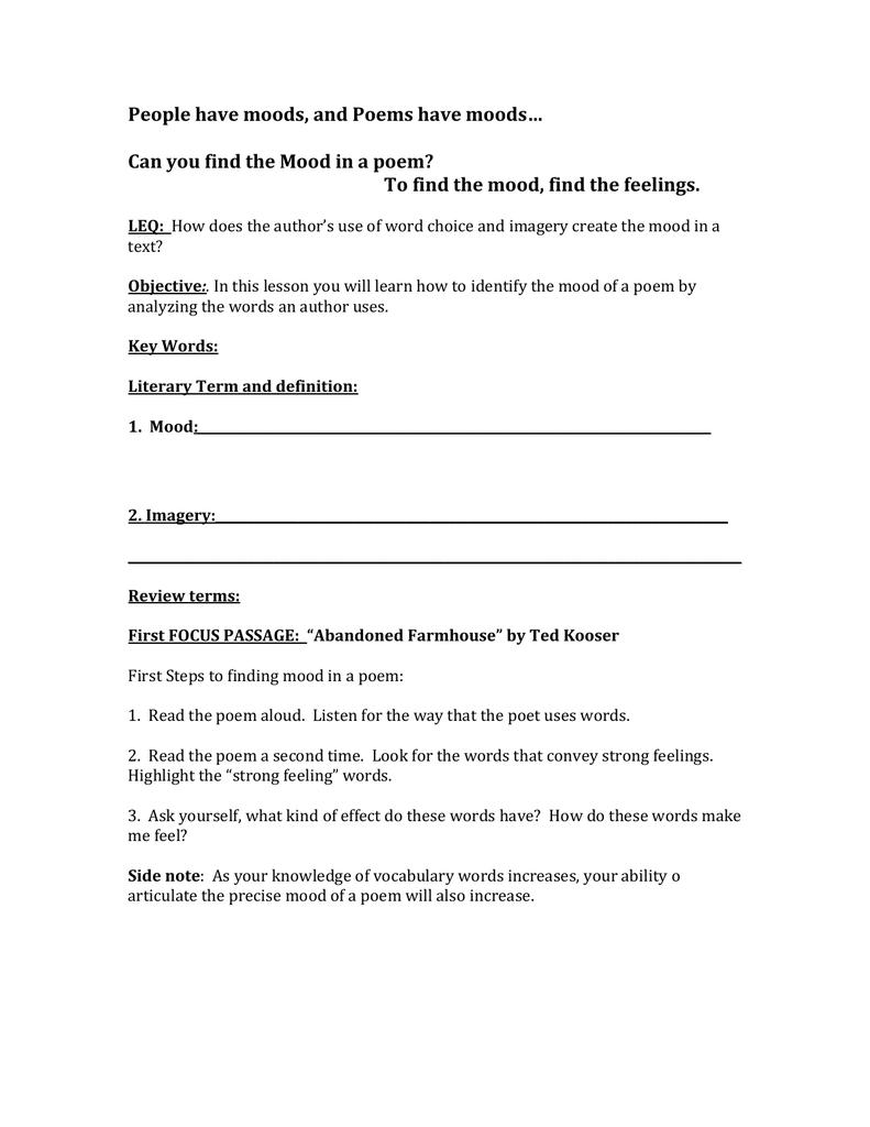 Mood Worksheet 1